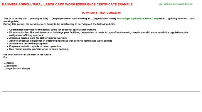 Manager Agricultural Labor Camp Work Experience Certificate