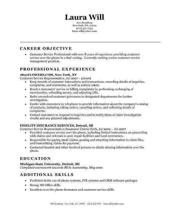 Objective For Resume Customer Service | berathen.Com