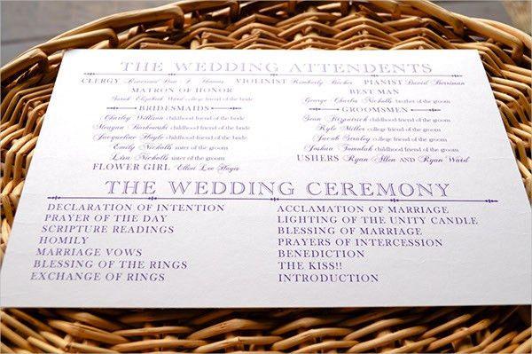 17+ Wedding Program Template | Free & Premium Templates