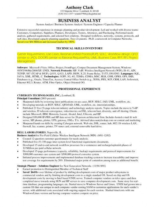 senior business analyst resume example