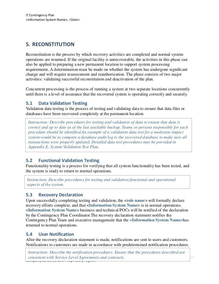 Business Contingency Plan Template Contingency Plan Template 9 – IT Contingency Plan Example