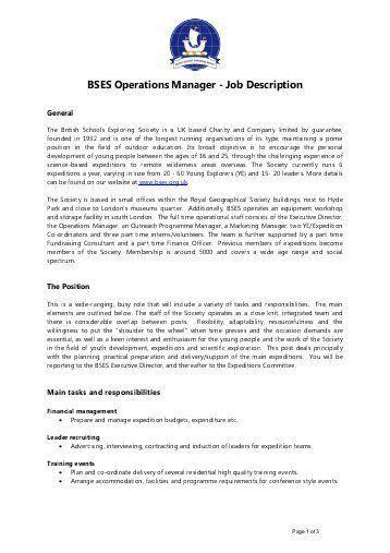 It Operation Manager Job Description Operations Manager Job .