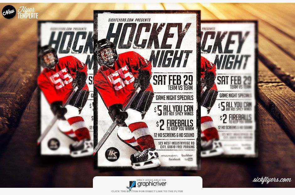 Game Flyer Template | Hockey Flyer PSD | sickflyers.com
