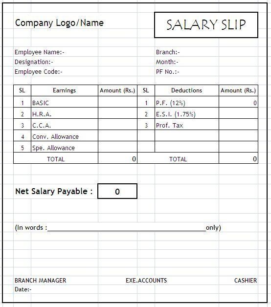 Free Download Blank Salary Slip Template Template with Company and ...