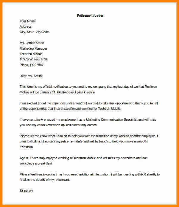 6+ retirement letter   cinema resume