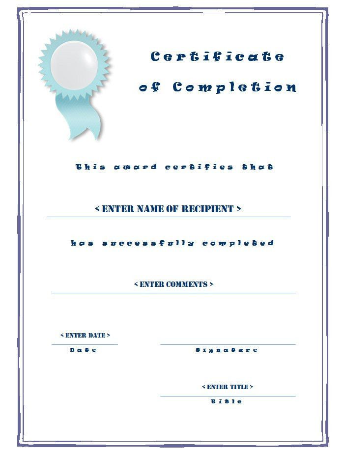 Casual Certificate of Completion Templates with Blue Border ...