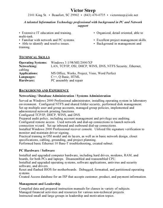 Attractive Network Administrator Resume For Inspire You : Vntask.com