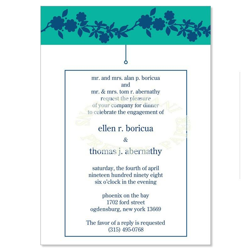 Blue & Green Engagement Party Invitation Templates - Danielle Teal ...