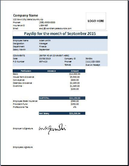 Interesting Payslip Template Reference with Blue Table for ...