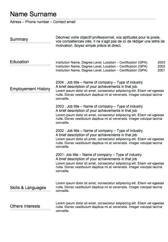 CV Classic N°4 | Curriculum Vitae