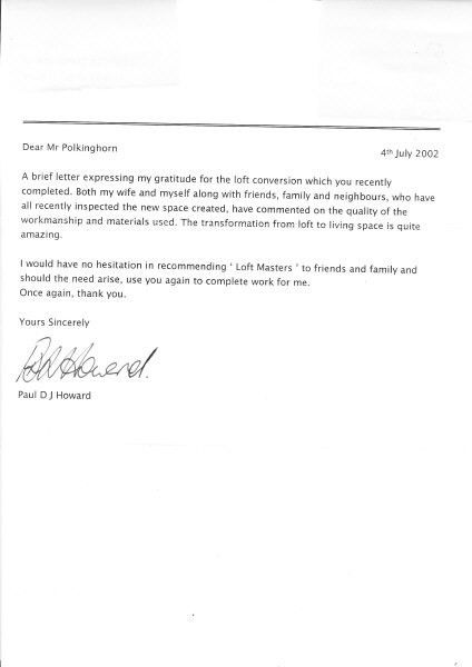 Loft Masters Essex Limited customer references and testimonials