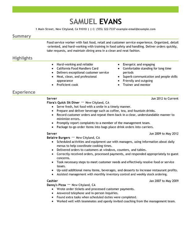 resume objective food server resume objective cover letter entry ...