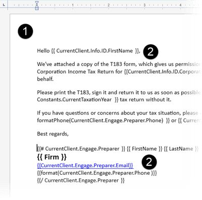 How to create an email cover letter in TaxCycle's Template Editor
