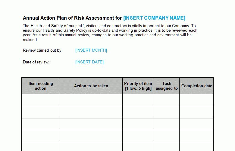 Risk Assessment Annual Action Plan Template - Bizorb