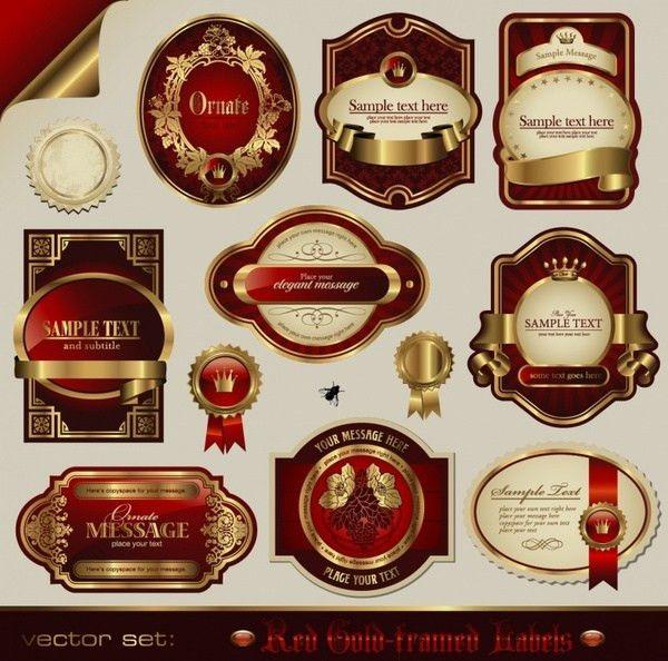 Exquisite wine labels template vector design Free vector in ...