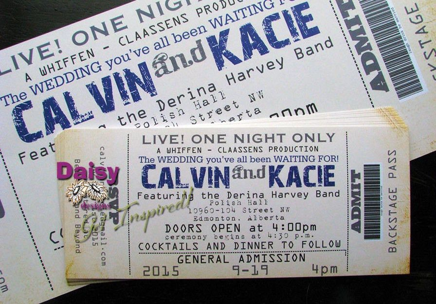 Concert Ticket Wedding Invitation by Daisy Designs