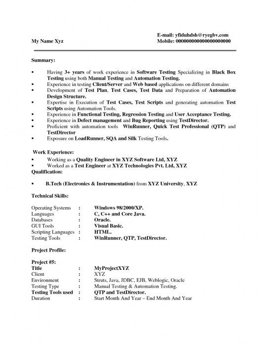 The Brilliant Sample Resume For Manual Testing | Resume Format Web
