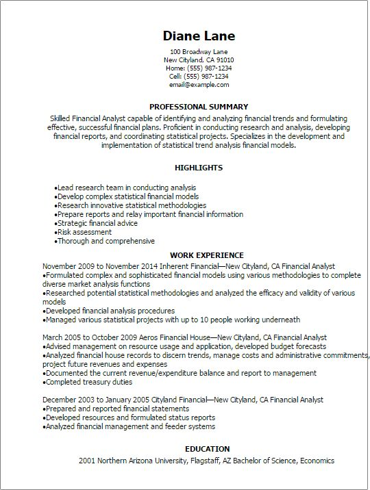 Professional Financial Analyst Resume Templates to Showcase Your ...