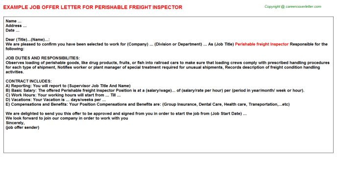 Perishable Freight Inspector Offer Letter