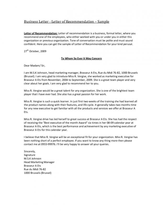 Sample Business Recommendation Letter Template Cover Letter : Selimtd
