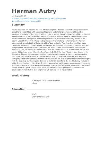 Licensed City Social Worker Resume samples - VisualCV resume ...