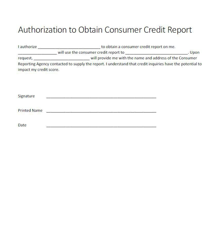 Authorization for credit check form - Generic - Free Authorization ...