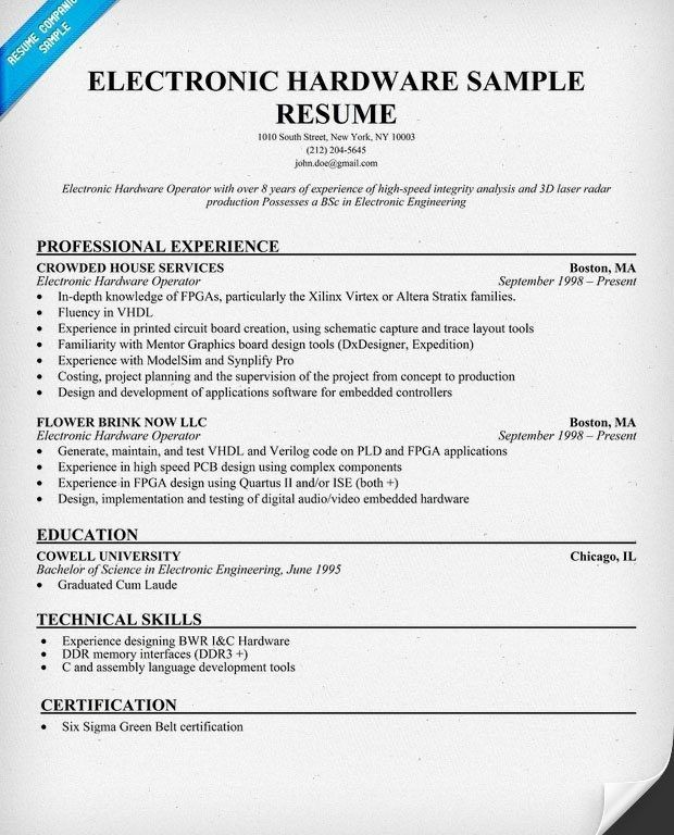 Intel Component Design Engineer Sample Resume. singer resume ...