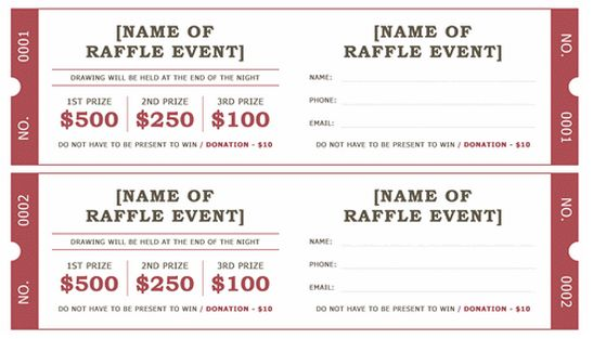 Raffle Ticket Template – Word Documents