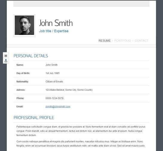 Top 40 Professional Online CV & Resume Templates | Web Development ...