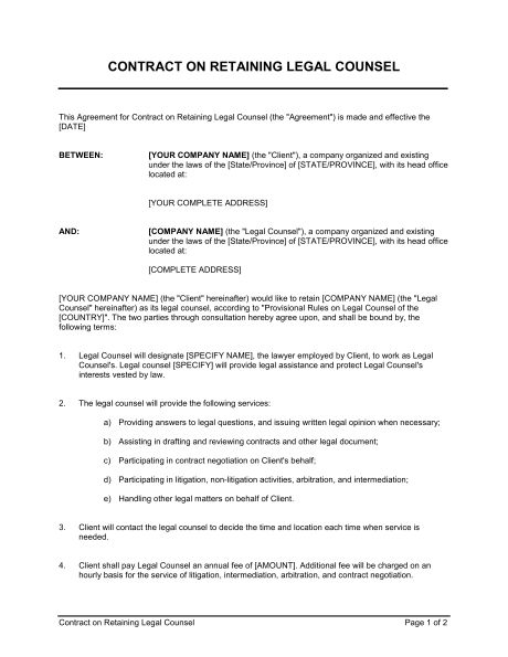 Contract on Retaining Legal Counsel - Template & Sample Form ...