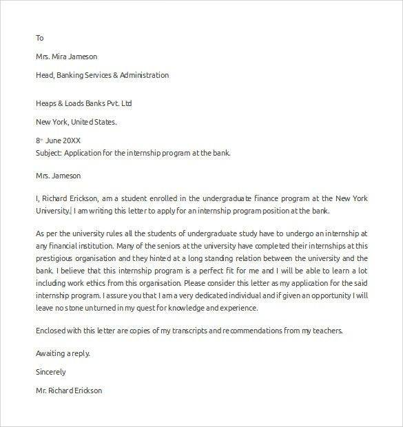 internship cover letter finance