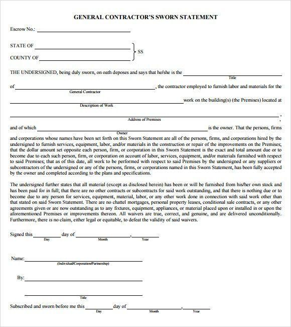 Sample Sworn Statement - 9+ Documents in Word, PDF