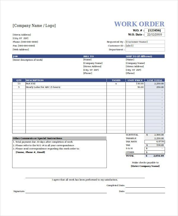 Excel Work Order Template - 6+ Free Excel Document Downloads ...