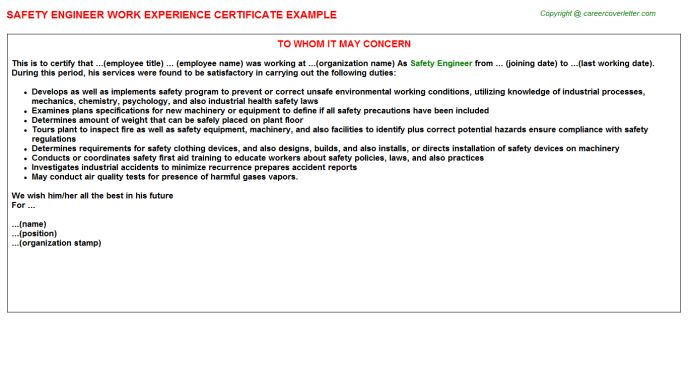 Safety Engineer Work Experience Certificate