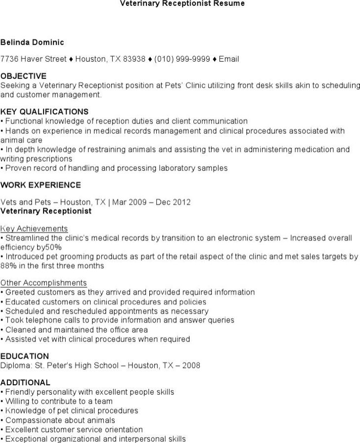 veterinary receptionist sample resume customer service agent