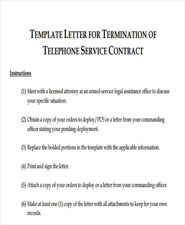 service contract termination letter template
