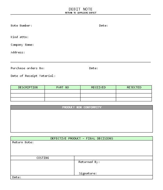 Debit Note format in word | Samples | Excel | PDF | Report