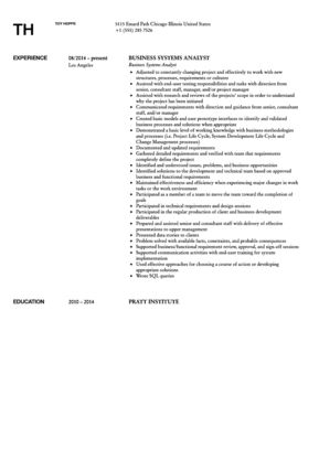 Business Systems Analyst Resume Sample | Velvet Jobs