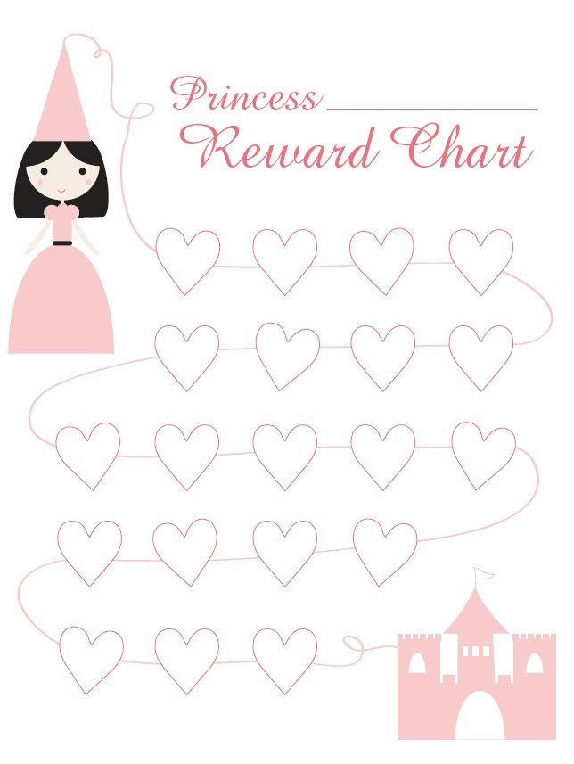 Princess Reward Chart, I don't like the weeks, cause then they see ...