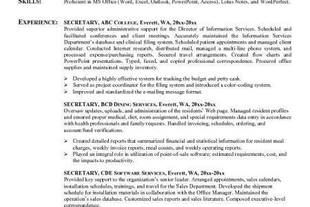 Secretary Resume Sample, Executive Secretary Resume Sample Resume ...