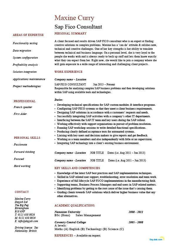 sap fico consultant resume technology functionality it example - Junior Consultant Resume