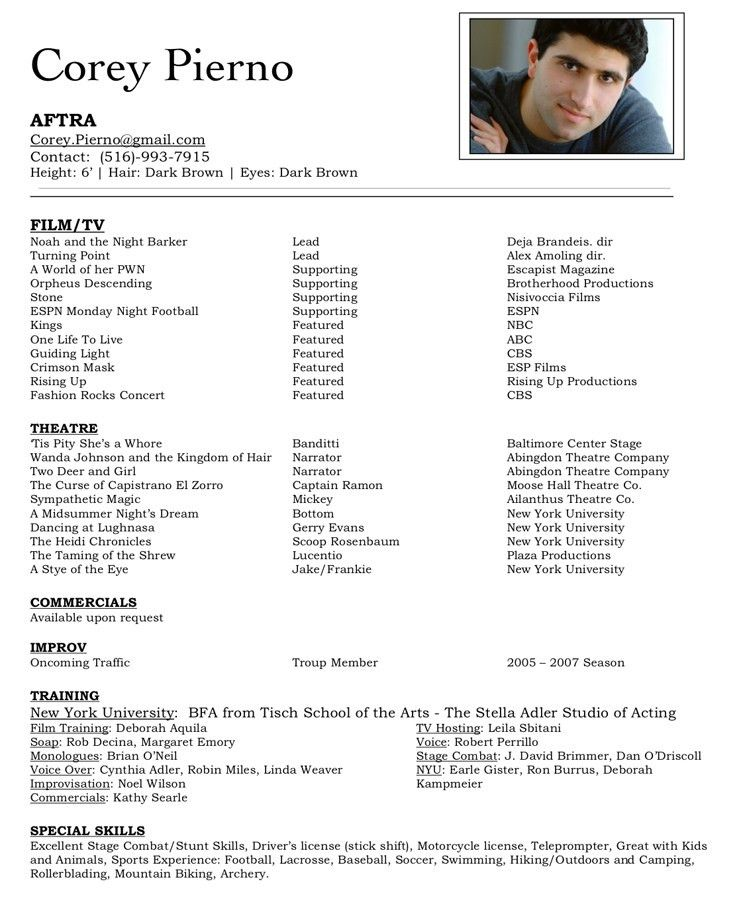 Valuable Idea Resume For Actors 8 Acting Resume Sample No ...