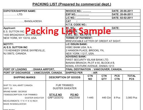 Packing List Format for Apparel Export Import Business