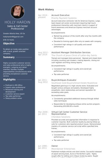 Account Executive Resume samples - VisualCV resume samples database