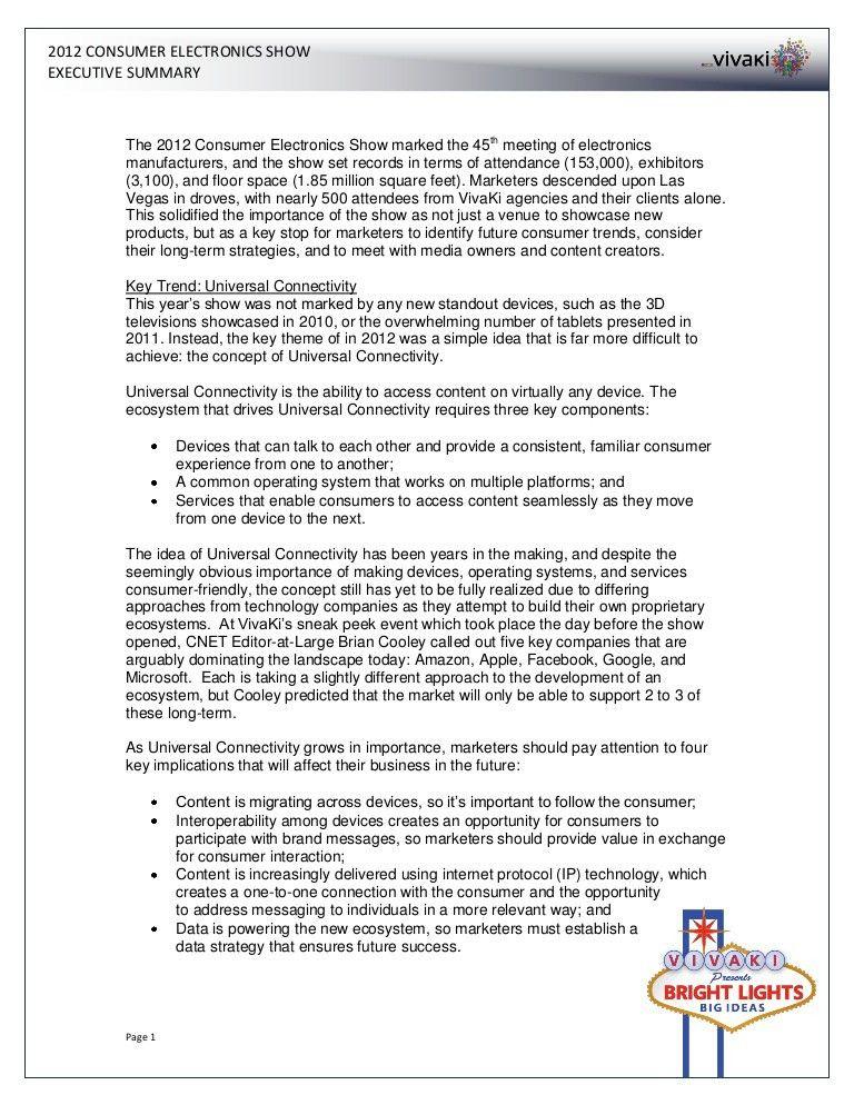 2012 Consumer Electronics Show (CES) Executive Summary