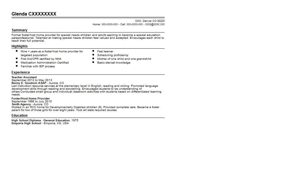 Special Education Paraprofessional Resume Sample | Quintessential ...