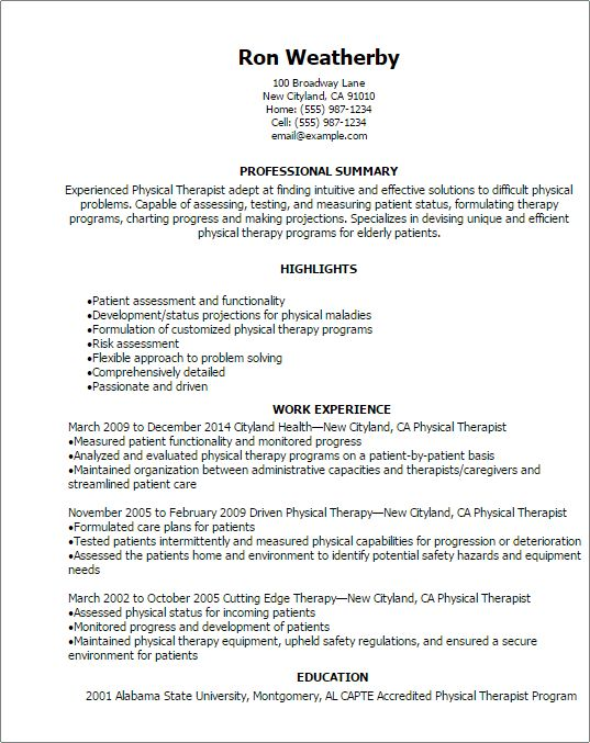 Professional Physical Therapist Resume Templates to Showcase Your ...