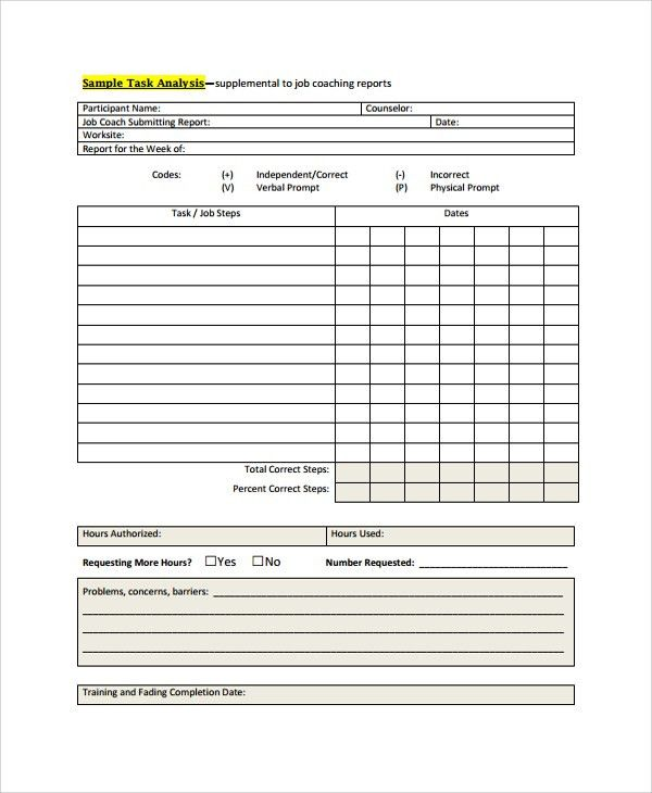 Sample Job Task Analysis - 6+ Documents in PDF, Word,