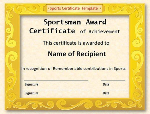 Printable Award Certificate Templates   Sampleprintable.com