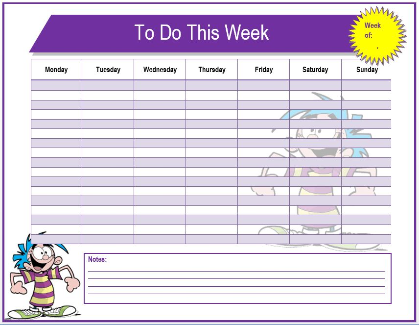 Weekly To Do List Template | Microsoft Word Templates